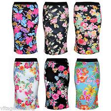 Womens Summer Floral Print Tube Knee Length Midi Bodycon Office Skirt Plus size