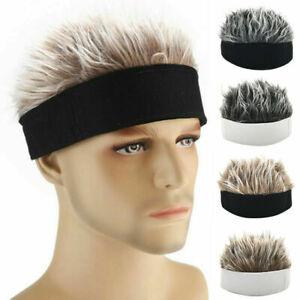 Unisex Men Women Beanie Fake Spiked Flair Hair Hat Funny Sports Golf Wig Hat