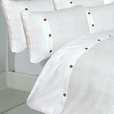 DOUBLE BED DUVET COVER SET 200 TC WAFFLE WHITE WOODEN BUTTON EFFECT LUXURY