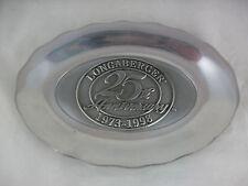 Longaberger 25th Anniversary Metal Plate Rectangular Oval Pewter Rare