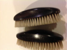 Pair: antique oval bristle grooming brushes - steampunk, Edwardian, VINTAGE
