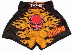 Boxing Shorts Thai Muay Thai TWINS Skull Black Skull Polyester Satin