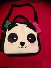 Betsey Johnson LUNCH BOX Black PANDA WHITE Face Tote Bag Insulated Quilted NEW