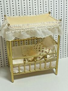 Vintage Dollhouse Brass Canopy Crib Dressed 3 Handmade pillows Miniature 1:12