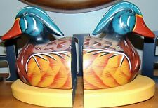 Vintage Primitive Hand Painted Mallard Duck Decoy Carved Wooden  Wood Bookends