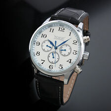 Automatic Mechanical Men's Watch Black Hands 3 Dials Man Fashion Leather Band
