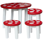 NEW Children's Fairy Mushroom Table and Three Stools for Kids Red & White Spots