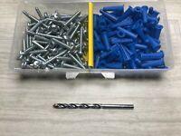 "100 Set #10-12 x 1"" Plastic Anchors & 10 x 1-1/4"" Pan Phillips SMS & Drill Bit"