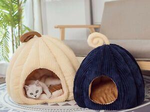 Semi-Enclosed Plush Pet Tent House Dog Cat bed, Removable Pumpkin Shape Nest