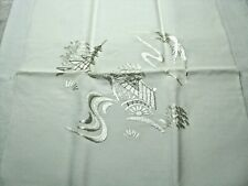 2 Vintage Elegant White Silk Scarfs-Embroidery on 1 and Diamond Design on other