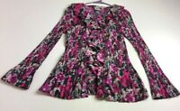 Fred David Women's Long Sleeve Button Up Shirt XL Multicolor Floral Ruffle Neck