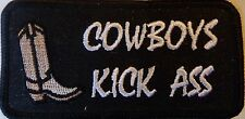 COWBOYS KICK A**  - RODEO VEST PATCH - BLACK & WHITE PATCH WITH BOOT