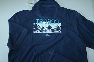 Tommy Bahama Polo Shirt Ninety Three Palms Embroidered Bering Blue New Medium M