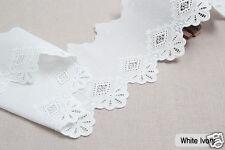 "2y Embroidery scalloped cotton eyelet lace White-Ivory 5.3"" (13cm) sh6 laceking"