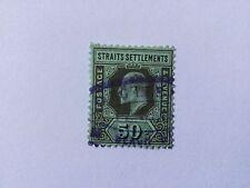 1906 Malaya Straits Settlements KEVII Watermark Multiple Crown CA 50c