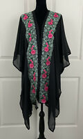 Betsey Johnson Womens One Size Embroidered Boho Floral Kimono Top NWT
