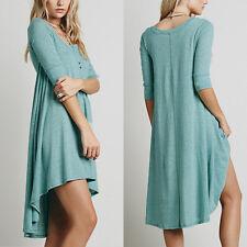 Oversized Women V Neck Long Maternity Tops Shirt Blouse Asymmetric Tunic Dress