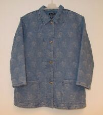 Rare Denim & Co. Washable Quilted Lined Rose Floral Heavy Jacket Coat Women's 3X