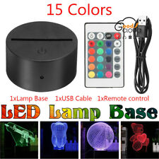 NEW! Acrylic Black 3D LED Lamp Night Light Base Decor Remote Control + USB Cable