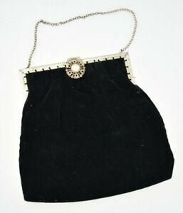 Vintage Black Velvet And Silver Plate Evening Clutch Bag Purse