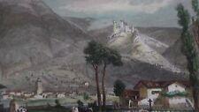 Château de la Roche Baron (vu du hameau des Sâles) - gravure  de 1842 - couleur.