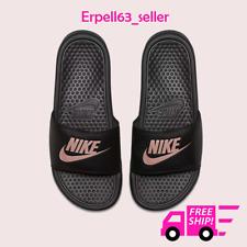 New Women's Nike Benassi JDI Slides Sandals Flip-Flops Black Rose Sizes 5-11