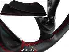 Pour alfa romeo 156 96-07 en cuir italien noir volant couverture red stitch