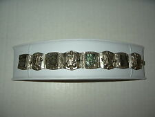 Vintage Mexico Hechoen Silver With Abalone Inlay Hinged Bracelet - 36.4 Grams