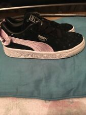 Girls Puma Black Trainers, Size 9, Pretty Lilac Bow on back.