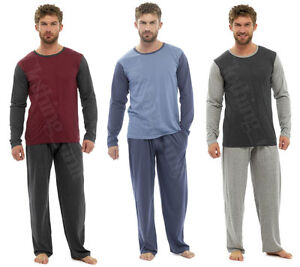 Mens Loungewear Jersey Long Sleeve Top  Pyjama Set Pjs S-XXL