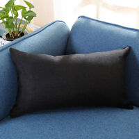 Rectangle Solid Flax Cotton Cushion Cover Silk Throw Pillow Case Home Decoration