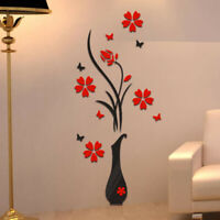 Vase Flower Tree Crystal Arcylic 3D Wall Stickers Decal Home Living room Decor