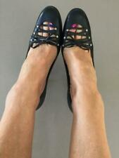 URBAN SOUL BLACK LEATHER LATTICE corset FRONT HEELS 8 toe cleavage OFFICE shoes