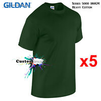 5 Pk Gildan Forest Green T-SHIRT Basic Tee S - 5XL Men Heavy Cotton