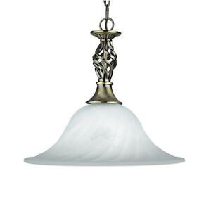 Searchlight 1 Light Marble Glass Ceiling Pendant Antique Brass Finish Suspension