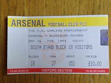 Arsenal v Blackburn Rovers 1993/94 match ticket