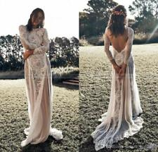 Vintage Lace Backless Boho Beach Wedding Dresses Long Sleeve Nude Bridal Gown