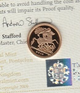 2010 GOLD PROOF QUARTER SOVEREIGN WITH CAPSULE & CERTIFICATE.