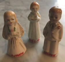 Antique Vintage Japan Painted Porcelain BRIDE GROOM MINISTER FIGURINES Wedding