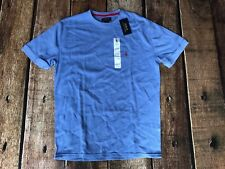 RALPH LAUREN POLO WAFFLE KNIT THERMAL CREW NECK T-SHIRT LIGHT BLUE RED LARGE