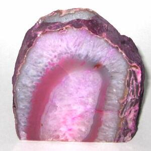 "Brazilian Agate Pink Geode Crystal Candle Holder 3.75"" Stone Rock Candleholder"