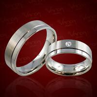 2 Trauringe 925 Silber mit DIAMANT 0,03ct. GRAVUR+Etui Eheringe Ringe pr04d