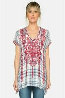Johnny Was Workshop Misha Plaid Embroidered Drape Top Boho Chic W17917 NEW