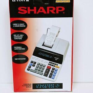 New Sharp EL-1197PIII Heavy Duty Color Printing Calculator with Clock & Calendar