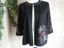 ONQUE CASUALS Women's Button up Black Floral Cardigan Sweater - Sz Med - NWT