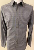 Banana Republic Men's Stretch Tailored Slim Shirt Checkered Large 16- 16.5 34/35