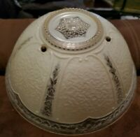 """ANTIQUE VINTAGE VICTORIAN CLEAR & CREAM GLASS CEILING LIGHT SHADE GLOBE 10 1/2"""""""