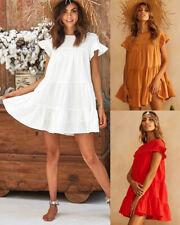 UK Women Ladies Summer Smock Dress Holiday Beach Casual Loose Frill Sundress