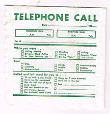 Tough 1950s Canada Napkin O'Keefe Beer & Ale Telephone Message
