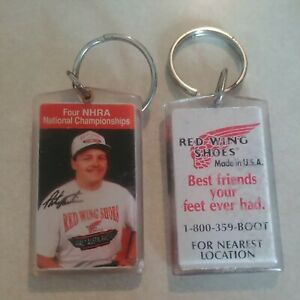 """2 Red Wing Shoes NHRA Pat Austin Keychains 2-1/4"""""""